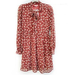 Tulle Rust Floral Chiffon Dress Vintage Inspired